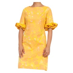 1960S LILLY PULITZER Yellow & Orange Cotton Leo Print Dress With 3/4 Sleeves Ru