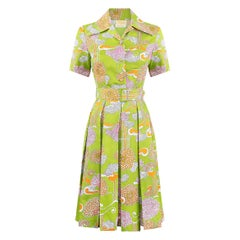 1960s Lime Green Psychedelic Print Dress With Box Pleat Skirt And Wide Lapel