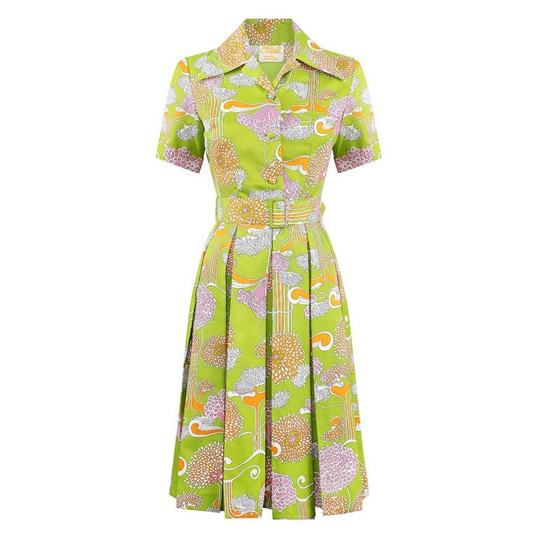 1960s Lime Green Psychedelic Print Dress With Box Pleat Skirt And Wide Lapel  For Sale
