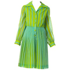 1960S Lime Green Striped Cotton Pleated Mod Dress From Elizabeth Arden