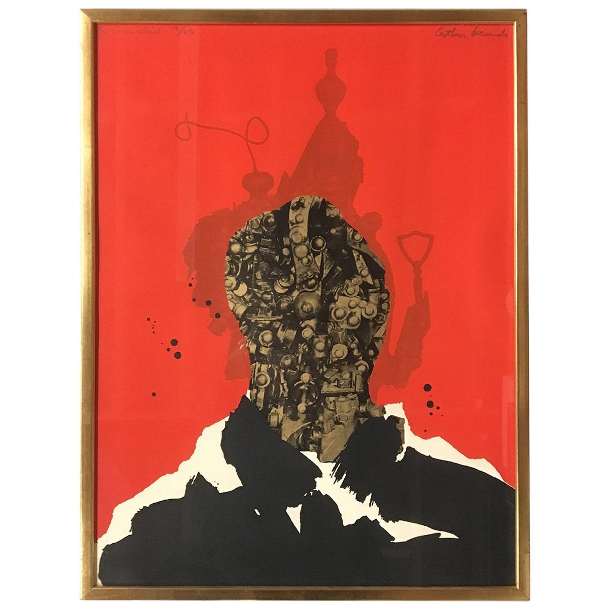 1960s Limited Edition Silkscreen Print 'The Anarchist' by Arthur Secunda