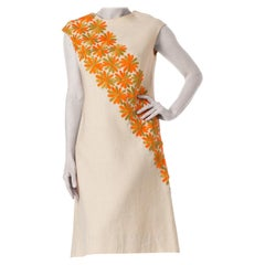 1960S Linen Mod Dress With Orange Embroidered Daisies