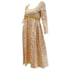 1960s Lisa Meril Pink and Gold Sequin Swirl Dress with Gold Fringe Vest