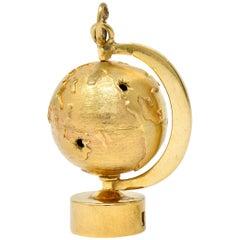 1960s Litacharm Inc. Vintage 14 Karat Yellow Gold Globe Pendant Charm
