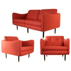 "1960s Living Room Suite ""Teckel"" by Michel Mortier for Steiner, France"