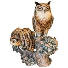 1960s Lladro Polychrome Ceramic Owl, Signature