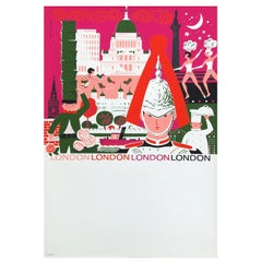 1960s London British Travel Poster by Daphne Padden, Pop Art Illustration Design