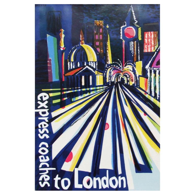 Rare 1961 promotional travel poster for Express Coaches to London designed by Fred Pauker for the Omnibus Company Ltd, UK. Rolled.  Measure: L 76cm x W 51cm.
