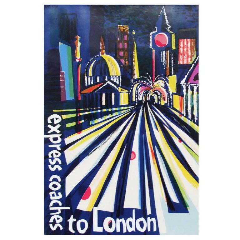 British 1960s London Coach Travel Poster Illustration Pop Art For Sale