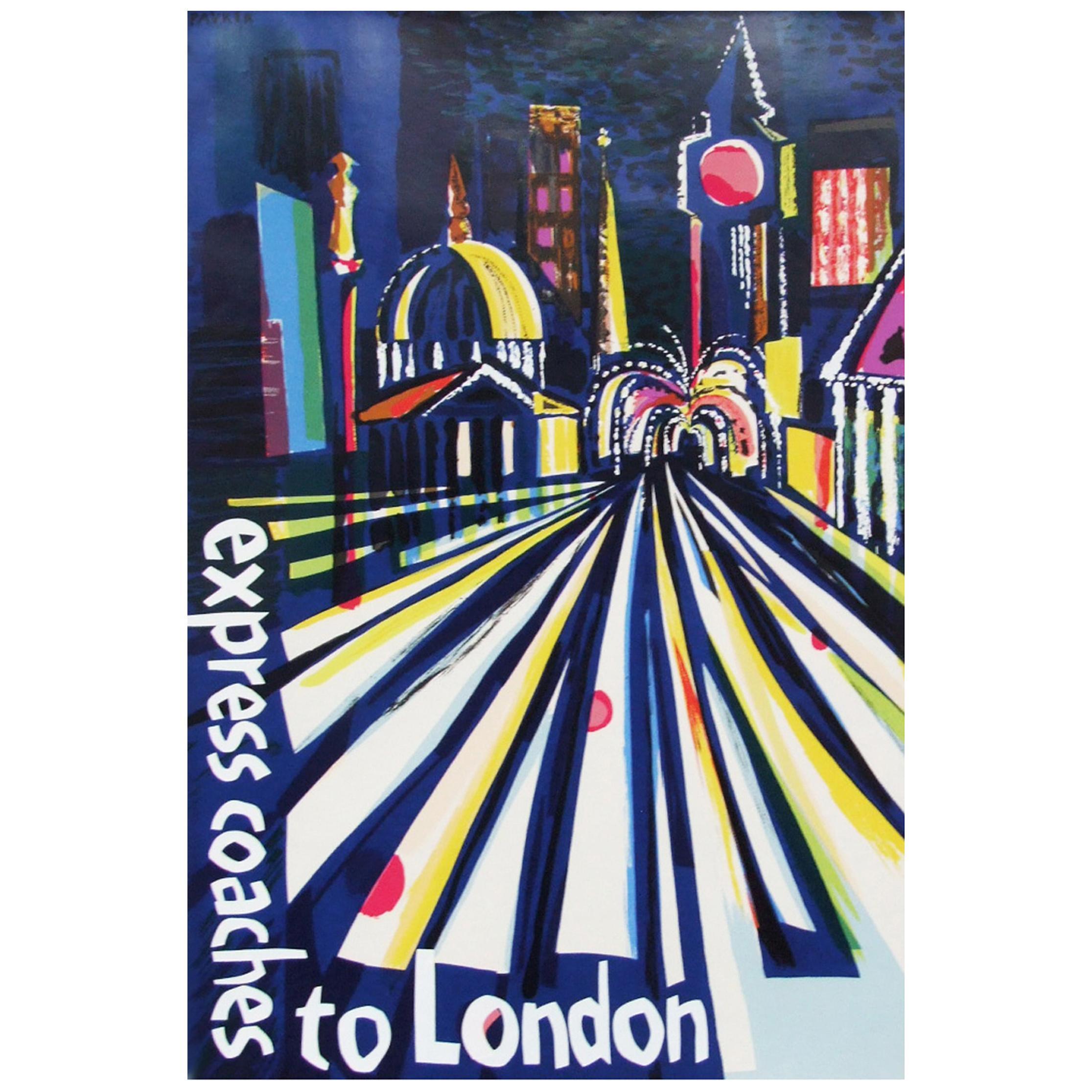 1960s London Coach Travel Poster Illustration Pop Art