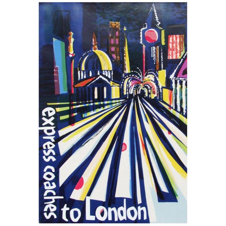 1960s London Coach Travel Poster Illustration Pop Art For Sale