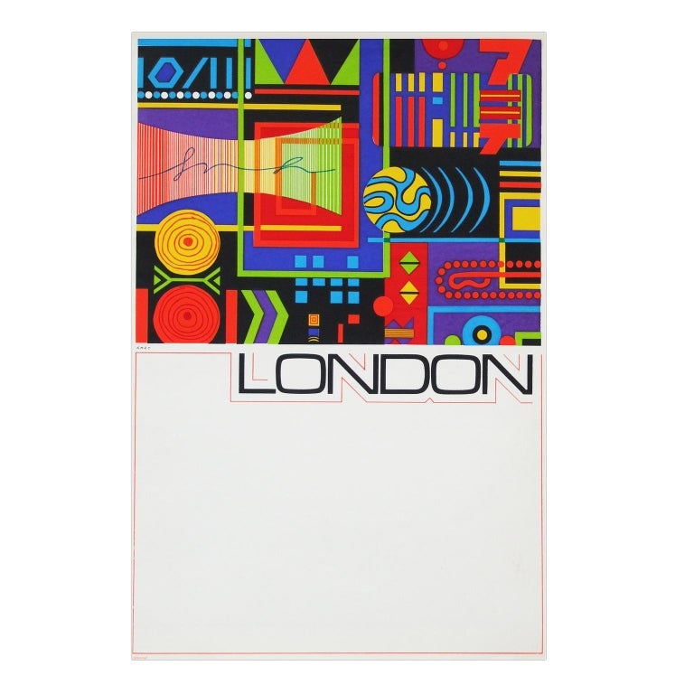 Mid-Century Modern 1960s London Travel Poster by GB Karo Pop Art British Design For Sale