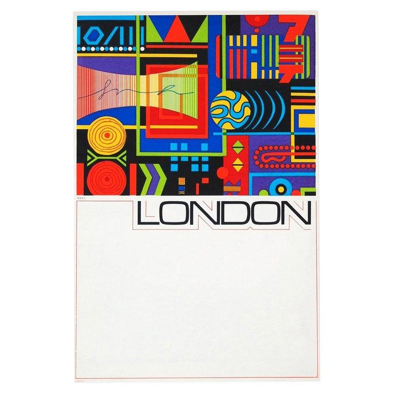 1960s London Travel Poster by GB Karo Pop Art British Design For Sale