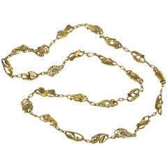 1960s Long Gold Zodiac Necklace