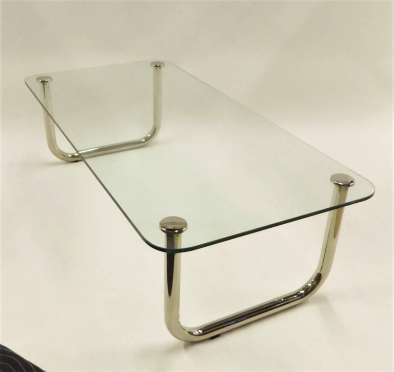 1960s Long Mascheroni Style Glass and Nickel Chrome Sled Leg Coffee Table In Excellent Condition For Sale In Miami, FL
