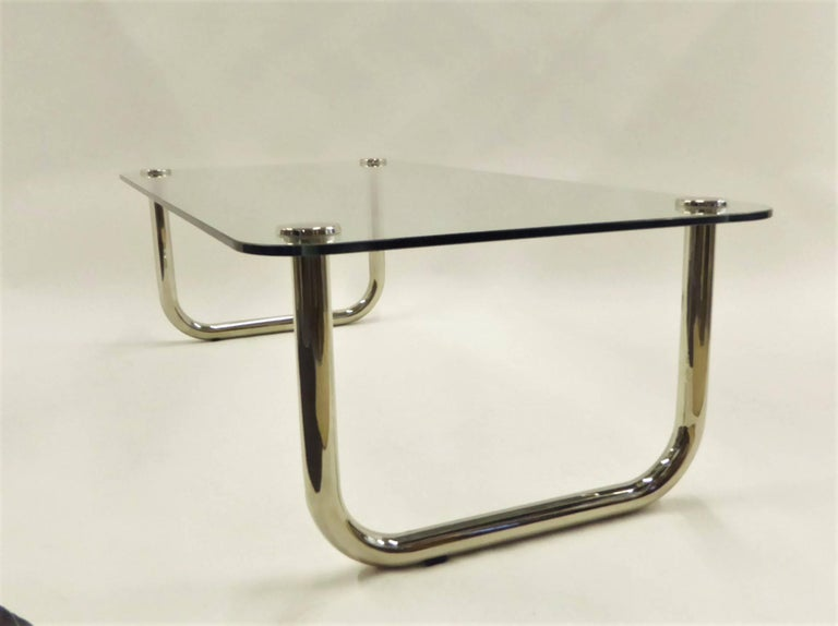 Mid-20th Century 1960s Long Mascheroni Style Glass and Nickel Chrome Sled Leg Coffee Table For Sale