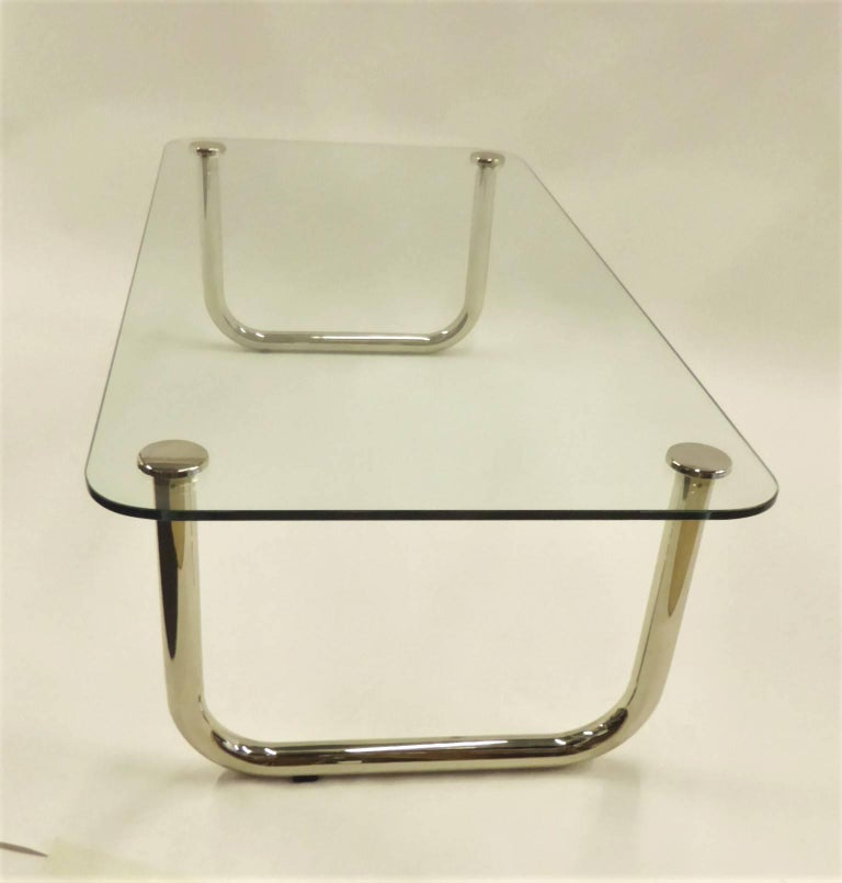 1960s Long Mascheroni Style Glass and Nickel Chrome Sled Leg Coffee Table For Sale 1