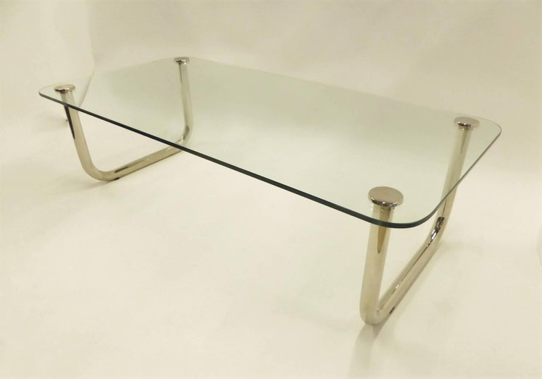 1960s Long Mascheroni Style Glass and Nickel Chrome Sled Leg Coffee Table For Sale 4