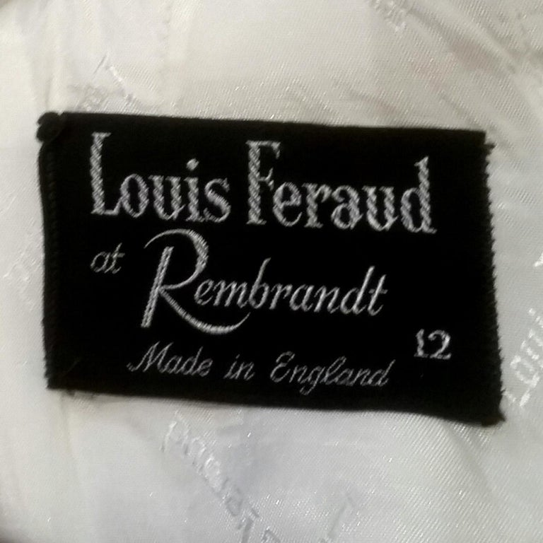 1960s Louis Feraud For Rembrandt White Mini Dress With Navy Appliqué For Sale 1