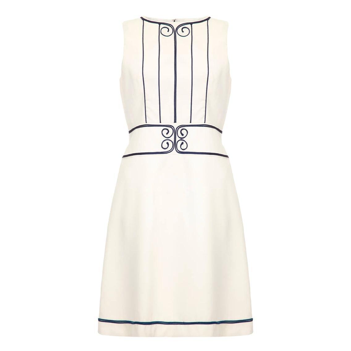 1960s Louis Feraud For Rembrandt White Mini Dress With Navy Appliqué