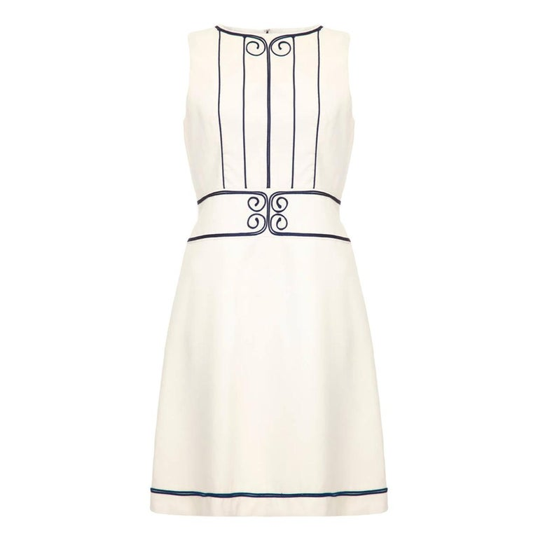 1960s Louis Feraud For Rembrandt White Mini Dress With Navy Appliqué For Sale