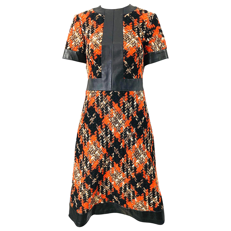 1960s Louis Feraud Haute Couture Boucle Wool + Leather Orange A - Line 60s Dress