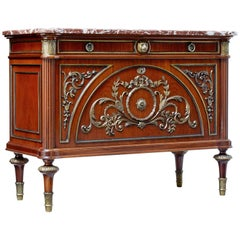 1960s Louis XVI Influenced Marble Top Commode