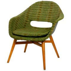 1960s Lounge Chair by Miroslav Navratil with Fiberglass Shell and Original Cover