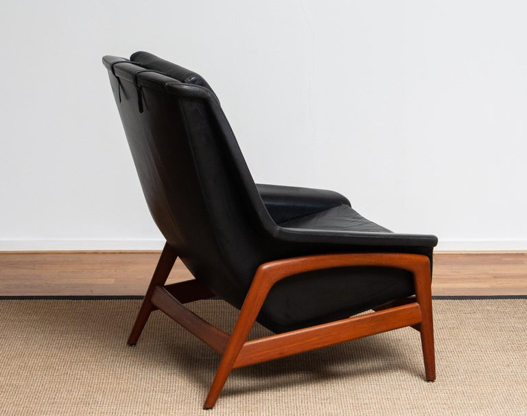 1960s, Lounge Chair Profil by Folke Ohlsson for DUX in Black Leather and Teak 1 2