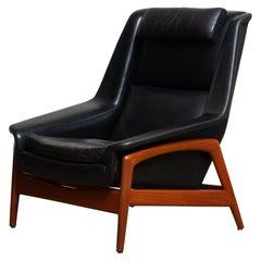 1960s, Lounge Chair Profil by Folke Ohlsson for DUX in Black Leather and Teak 1