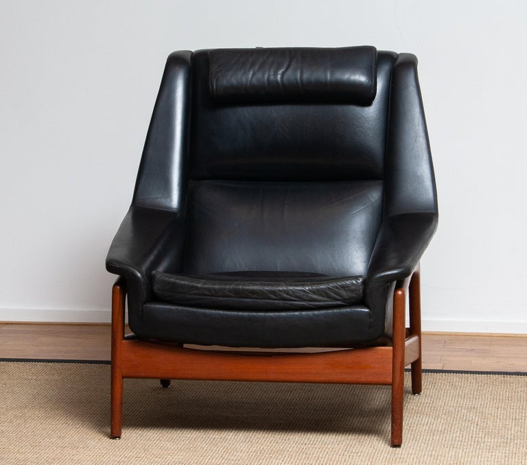 1960s, Lounge Chair 'Profil' by Folke Ohlsson for DUX in Black Leather and Teak 7