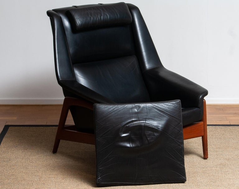 1960s, Lounge Chair 'Profil' by Folke Ohlsson for DUX in Black Leather and Teak 8