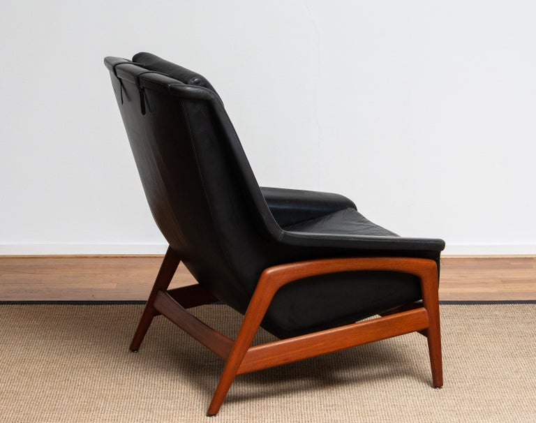 1960s, Lounge Chair 'Profil' by Folke Ohlsson for DUX in Black Leather and Teak 1