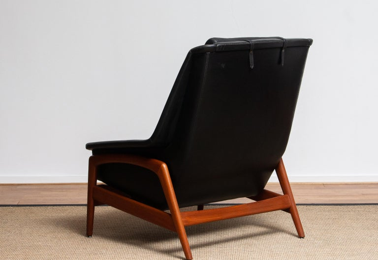 1960s, Lounge Chair 'Profil' by Folke Ohlsson for DUX in Black Leather and Teak 2