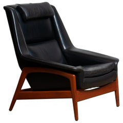 1960s, Lounge Chair 'Profil' by Folke Ohlsson for DUX in Black Leather and Teak