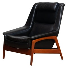 1960s, Lounge Chair Profil by Folke Ohlsson for DUX in Black Leather and Teak