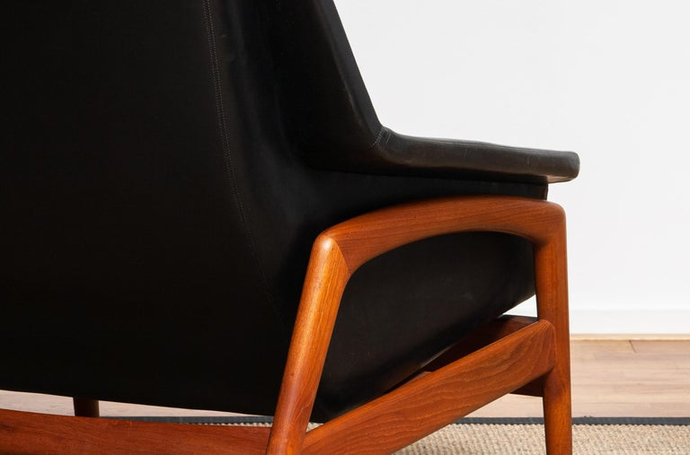1960s, Lounge Chair 'Profil' by Folke Ohlsson for DUX in Leather and Teak 1 4