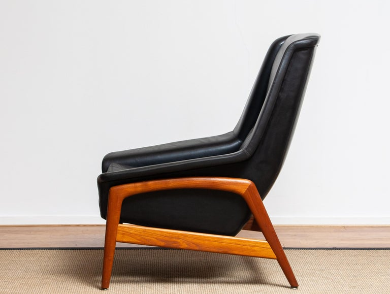 1960s, Lounge Chair 'Profil' by Folke Ohlsson for DUX in Leather and Teak 1 8