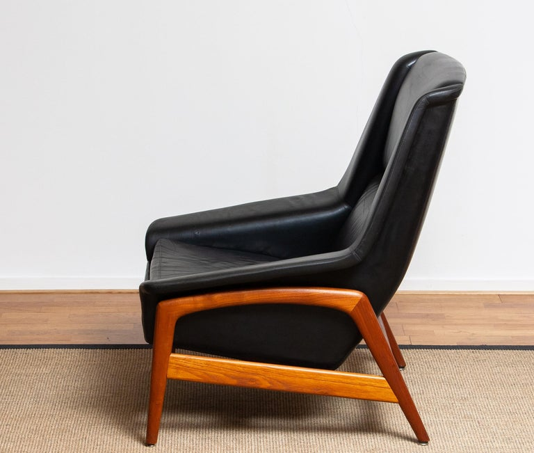 1960s, Lounge Chair 'Profil' by Folke Ohlsson for DUX in Leather and Teak 1 9