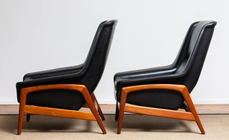 1960s, Lounge Chair 'Profil' by Folke Ohlsson for DUX in Leather and Teak 1 10