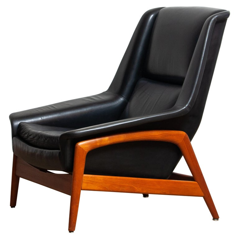 Scandinavian Modern 1960s, Lounge Chair 'Profil' by Folke Ohlsson for DUX in Leather and Teak 1