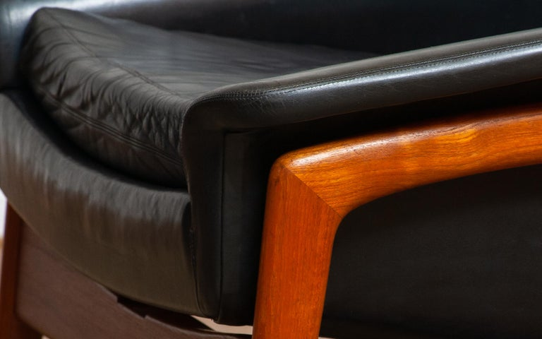1960s, Lounge Chair 'Profil' by Folke Ohlsson for DUX in Leather and Teak 1 In Good Condition In Silvolde, Gelderland