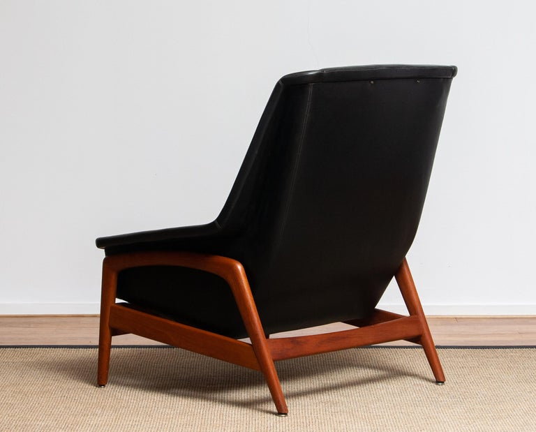 Mid-20th Century 1960s, Lounge Chair 'Profil' by Folke Ohlsson for DUX in Leather and Teak 1