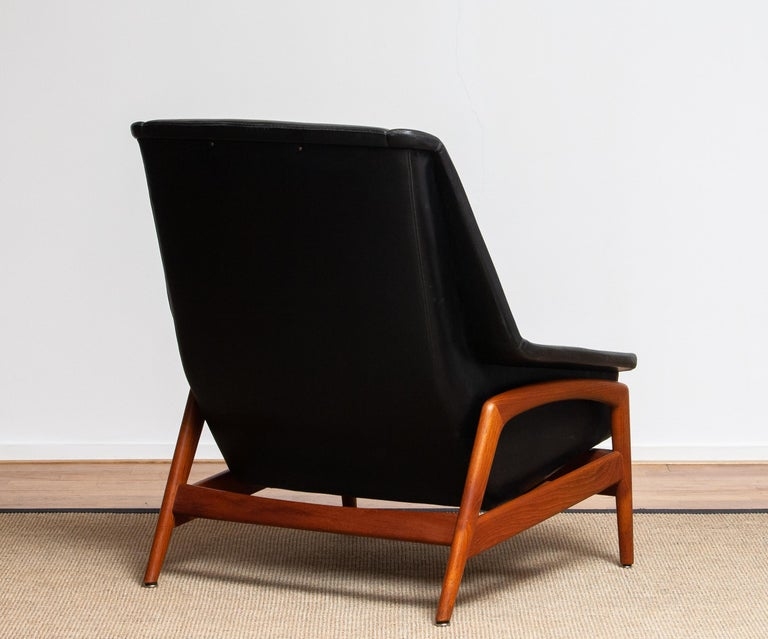 1960s, Lounge Chair 'Profil' by Folke Ohlsson for DUX in Leather and Teak 1 3