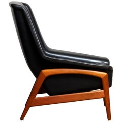 1960s, Lounge Chair 'Profil' by Folke Ohlsson for DUX in Leather and Teak 1