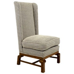 1960s Low Bedroom Chair, Oak, New Stuffing, Pierre Frey's Fabric, Barcelona