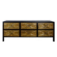 1960s Low Commode, Satiny Black Lacquered Wood, Carved Walnut Drawers, Spain