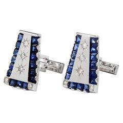 1960s Lucien Piccard Diamond Sapphire 14 Karat Cufflinks