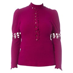 1960S Magenta Knit Victorian Revival Top With Puff Sleeves