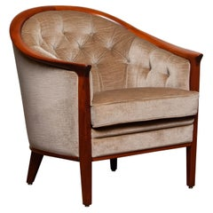 1960s Mahogany and Taupe Velvet Lounge Chair by Broderna Andersson Sweden